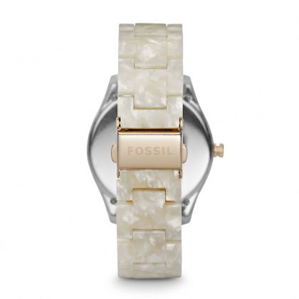 Stella Multifunction Resin Watch - Pearlized White with Rose