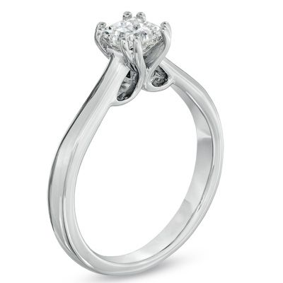3/4 CT. Certified Canadian Princess-Cut Diamond Solitaire Engagement Ring in 18K White Gold (I/SI2)