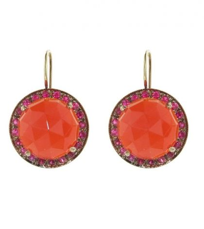 Rose Cut Carnelian Earrings with Rubies - Rose Gold