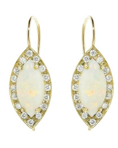 Marquis Opal Earrings with Diamonds - Yellow Gold